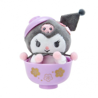 〔小禮堂〕酷洛米 迷你茶碗造型絨毛玩偶娃娃《紫》擺飾.玩具