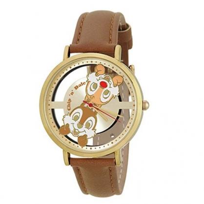 〔小禮堂〕迪士尼 奇奇蒂蒂 皮革錶帶金框腕錶手錶《棕黃.大臉》淑女錶.時尚錶