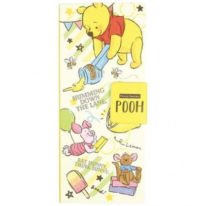 〔小禮堂〕迪士尼 小熊維尼 自黏便利貼附收納夾《黃.拿蠟筆》N次貼.書籤貼.標籤貼