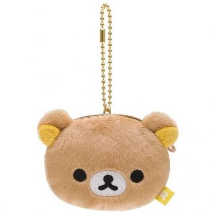 〔小禮堂〕懶懶熊 拉拉熊 大臉造型絨毛吊飾零錢包《棕》掛飾.耳機包