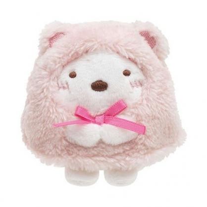 〔小禮堂〕角落生物 北極熊 迷你沙包絨毛玩偶娃娃《粉白.睡衣》擺飾.玩具