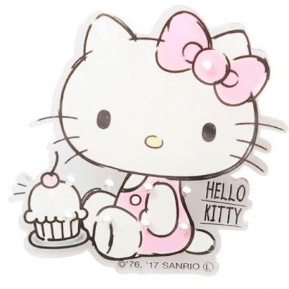〔小禮堂〕Hello Kitty 日製造型透明壓克力耳環收納夾《粉白.蛋糕》塑膠夾子.髮飾收納夾
