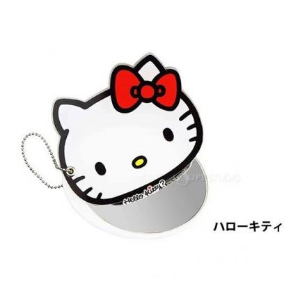 〔小禮堂〕Hello Kitty 日製大臉造型壓克力吊飾隨身鏡《白》掛飾.鏡子