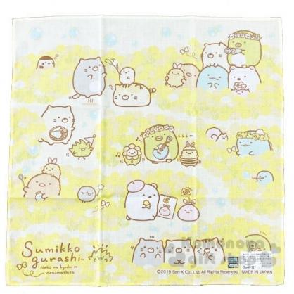 〔小禮堂〕角落生物 日製純棉紗布小方巾《黃.吹泡泡》30x30cm.手帕.毛巾