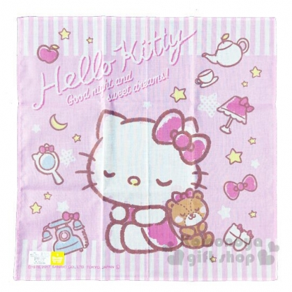 〔小禮堂〕Hello Kitty 日製純棉紗布小方巾《粉.閉眼》30x30cm.手帕.毛巾