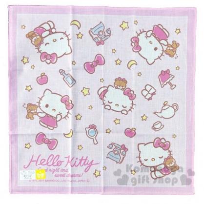 〔小禮堂〕Hello Kitty 日製純棉紗布小方巾《粉.星星》30x30cm.手帕.毛巾