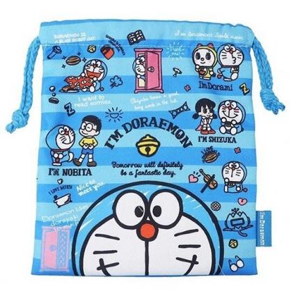 〔小禮堂〕哆啦A夢 棉質束口袋《藍白.橫紋》18x21cm.縮口袋.收納袋