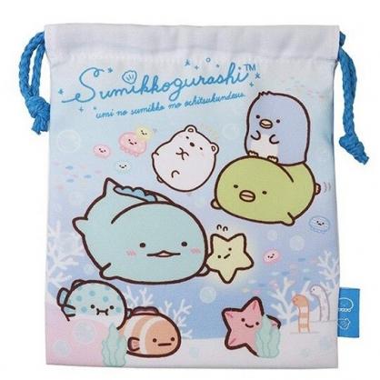 〔小禮堂〕角落生物 棉質束口袋《藍白.海底游泳》18x21cm.縮口袋.收納袋