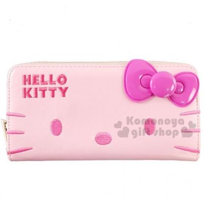 〔小禮堂〕Hello Kitty 立體蝴蝶結皮質拉鍊長夾《桃粉》皮包.皮夾.錢包