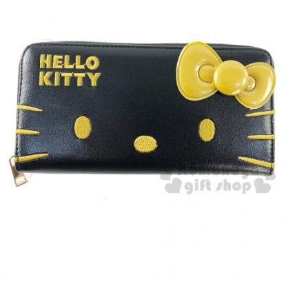 〔小禮堂〕Hello Kitty 立體蝴蝶結皮質拉鍊長夾《黑金》皮包.皮夾.錢包