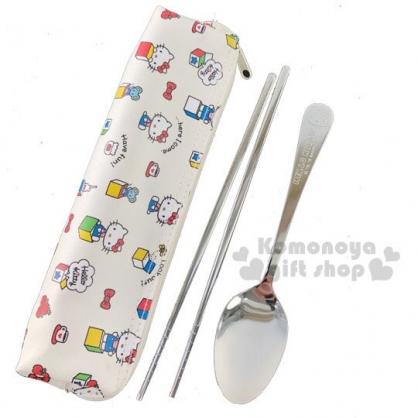 〔小禮堂〕Hello Kitty 兩件式不鏽鋼餐具組附餐具袋《白紅.驚奇箱》筷匙組.環保餐具