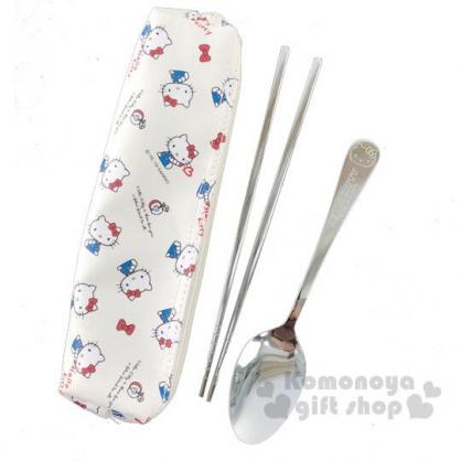 〔小禮堂〕Hello Kitty 兩件式不鏽鋼餐具組附餐具袋《白紅.拿蠟筆》筷匙組.環保餐具
