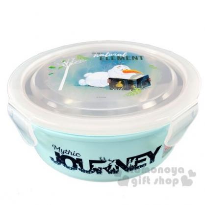 〔小禮堂〕迪士尼 冰雪奇緣 雪寶 四面扣蓋不鏽鋼隔熱碗《綠.看書》550ml.便當盒.餐盒