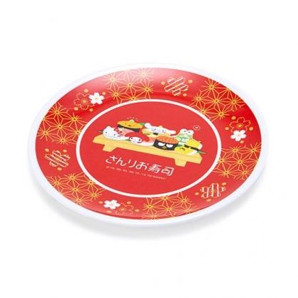 〔小禮堂〕Sanrio大集合 日製迷你美耐皿圓盤《紅.壽司》淺盤.點心盤.塑膠盤