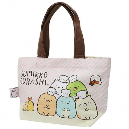 〔小禮堂〕角落生物 帆布手提袋《粉黃.麵包》外出袋.便當袋