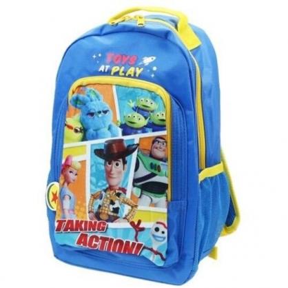 〔小禮堂〕迪士尼 玩具總動員 尼龍雙層拉鍊後背包《藍黃.格圖》雙肩包.書包