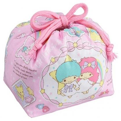 〔小禮堂〕雙子星 日製棉質束口便當袋《粉.緞帶框》手提袋.縮口袋.收納袋