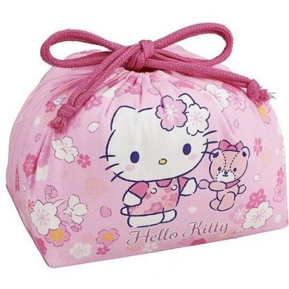 〔小禮堂〕Hello Kitty 日製棉質束口便當袋《粉.櫻花小熊》手提袋.縮口袋.收納袋