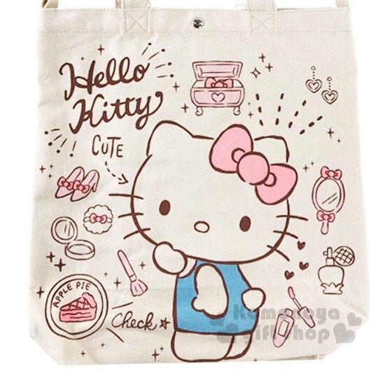 〔小禮堂〕Hello Kitty 帆布扣式直式側背袋《粉米.化妝品》手提袋.肩背袋