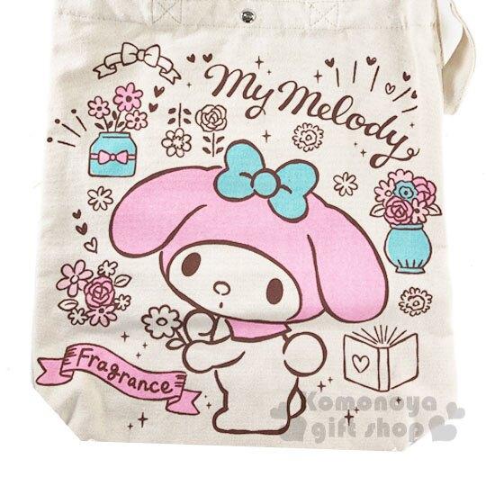 〔小禮堂〕美樂蒂 帆布扣式直式側背袋《粉米.花朵》手提袋.肩背袋