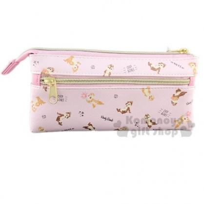 〔小禮堂〕迪士尼 奇奇蒂蒂 皮質三角雙層拉鍊筆袋《粉棕.滿版》收納包.化妝包.鉛筆盒