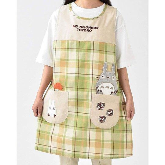 〔小禮堂〕宮崎駿Totoro龍貓 背心式扣式棉質圍裙《米綠.格紋》圍兜.工作服