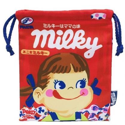〔小禮堂〕不二家PEKO 棉質束口袋《紅藍.大臉》18x21cm.縮口袋.收納袋