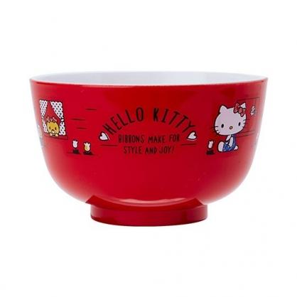 〔小禮堂〕Hello Kitty 日製可微波美耐皿碗《紅》微波碗.飯碗.塑膠碗