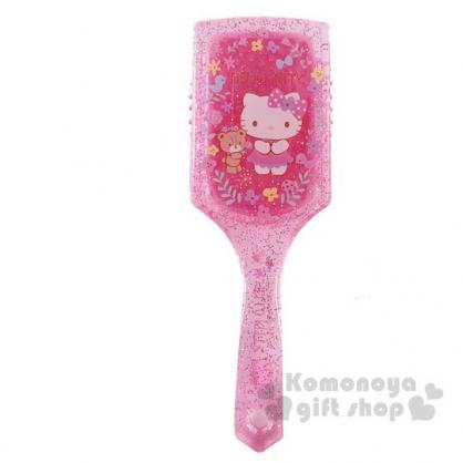 〔小禮堂〕Hello Kitty 塑膠方頭氣墊手握梳《粉.花朵》氣墊梳.直梳