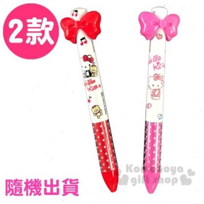 〔小禮堂〕Hello Kitty 蝴蝶結造型雙色原子筆《2傀隨機.紅/粉》0.5mm.多色筆.自動筆