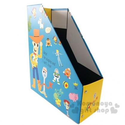 〔小禮堂〕迪士尼 玩具總動員4 折疊L型文件收納盒《藍黃.滿版》書架.置物盒