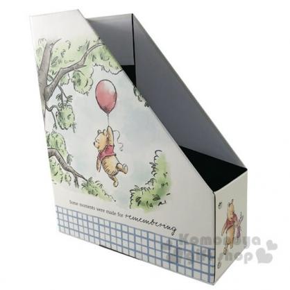〔小禮堂〕迪士尼 小熊維尼 折疊L型文件收納盒《綠米.拉汽球》書架.置物盒