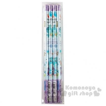 〔小禮堂〕迪士尼 怪獸大學 日製圓桿鉛筆組《4入.綠紫.文具》B.學童文具