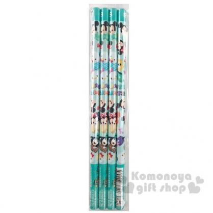 〔小禮堂〕迪士尼 TsumTsum 日製圓桿鉛筆組《4入.綠白.大臉》B.學童文具