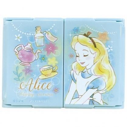 〔小禮堂〕迪士尼 愛麗絲 迷你塑膠方形隨身三面鏡《藍.閉眼》放大鏡.折鏡.立鏡