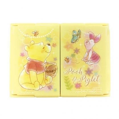 〔小禮堂〕迪士尼 小熊維尼 迷你塑膠方形隨身三面鏡《黃.蜂蜜罐》放大鏡.折鏡.立鏡