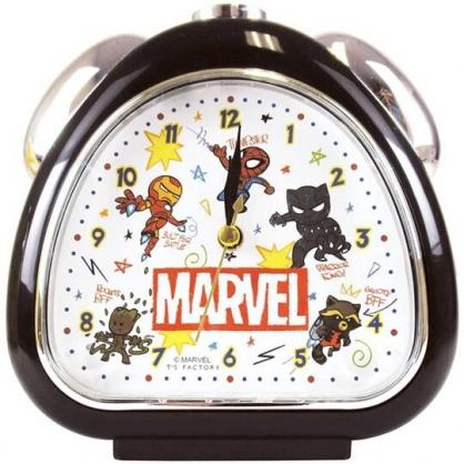 〔小禮堂〕漫威英雄Marvel 三角型鬧鐘《黑.Q版》桌鐘.時鐘
