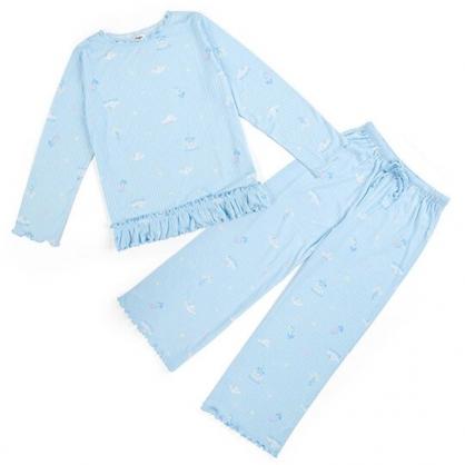〔小禮堂〕大耳狗 圓領荷葉邊長袖長褲居家服《藍》睡衣睡褲.休閒服