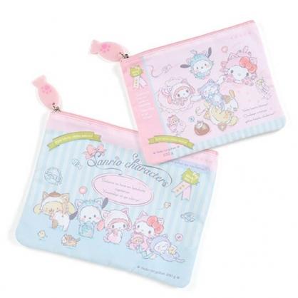 〔小禮堂〕Sanrio大集合 方形帆布扁平拉鍊收納包組《2入.粉》文具袋.化妝包.變裝貓咪系列