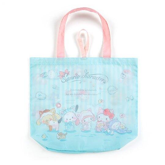 〔小禮堂〕Sanrio大集合 折疊尼龍環保購物袋《綠》手提袋.環保袋.變裝貓咪系列
