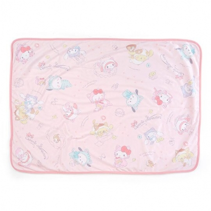 〔小禮堂〕Sanrio大集合 圓角毛毯披肩《粉》70x100cm.薄毯.單人毯.變裝貓咪系列