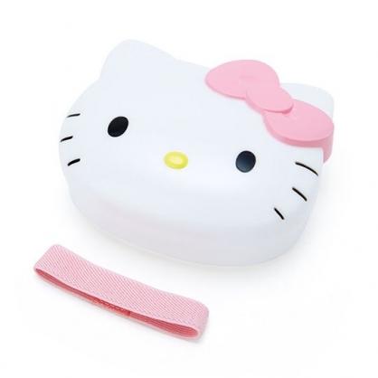 〔小禮堂〕Hello Kitty 大臉造型便當盒附束帶《粉白》320ml.保鮮盒.餐盒