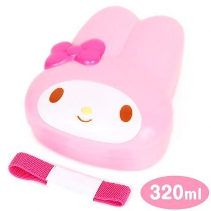 〔小禮堂〕美樂蒂 大臉造型便當盒附束帶《粉白》320ml.保鮮盒.餐盒