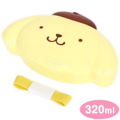 〔小禮堂〕布丁狗 大臉造型便當盒附束帶《黃棕》320ml.保鮮盒.餐盒