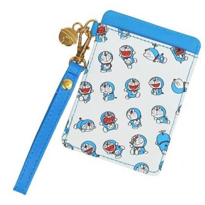 〔小禮堂〕哆啦A夢 皮質腕繩票卡夾《淺藍.50週年》車票夾.證件夾.卡套