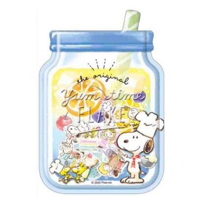 〔小禮堂〕史努比 梅森杯造型透明貼紙夾鏈袋組《藍黃》裝飾貼.黏貼用品