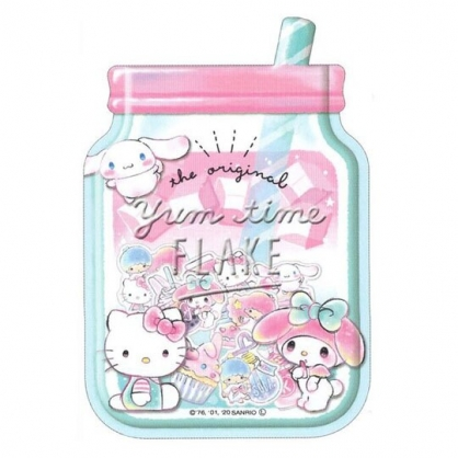 〔小禮堂〕Sanrio大集合 梅森杯造型透明貼紙夾鏈袋組《綠粉》裝飾貼.黏貼用品