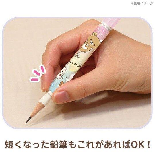〔小禮堂〕角落生物 日製鉛筆輔助軸組《紫黃.星星》鉛筆延長器.學童文具