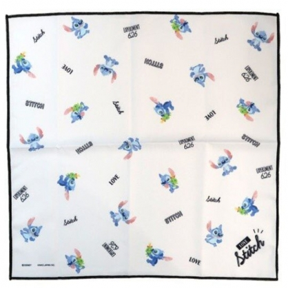 〔小禮堂〕迪士尼 史迪奇 棉質便當包巾《藍白.滿版》43x43cm.手帕.餐巾.桌巾