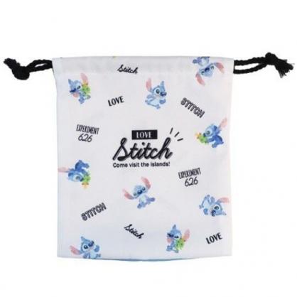 〔小禮堂〕迪士尼 史迪奇 棉質束口袋《藍白.坐姿滿版》18x21cm.縮口袋.收納袋